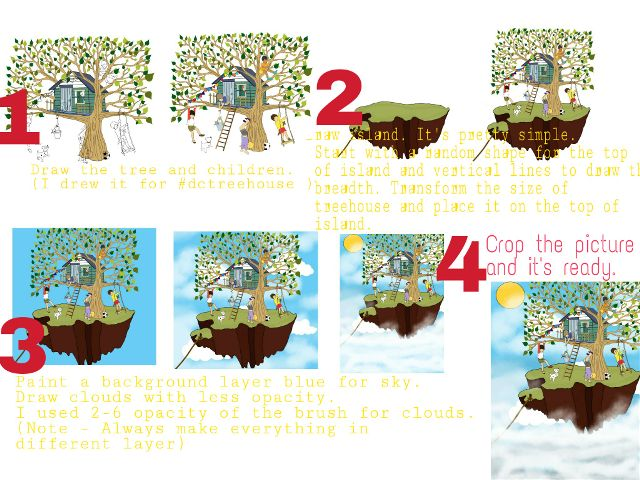 Flying Island Drawing Tutorials