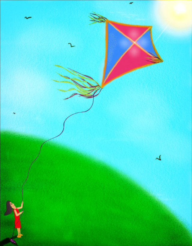 #drawing#cute#colorful#kites#nature#enjoy#freedom