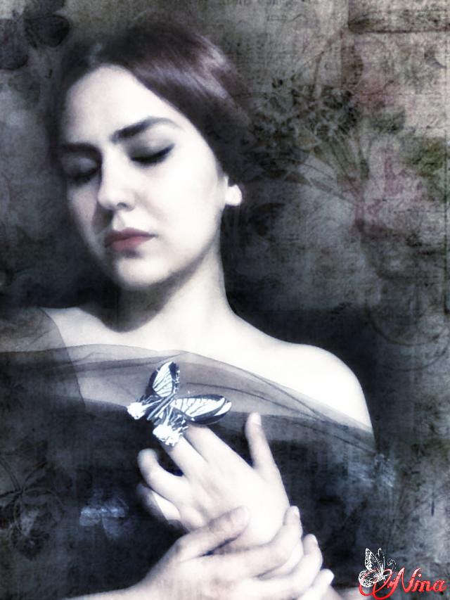 #artisticselfie  #digitalmakeup   #fantasy  Selfportrait Butterfly whisperer @gizemkarayavuz