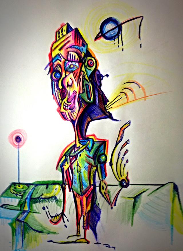 The Singer : Artwork by Aaron D #art #illustration #abstract #surreal  #strange #colorful  #sketch #singer