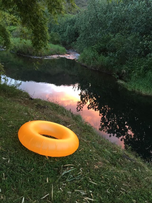 Swim before sun down.  #float  #sunset  #picsart