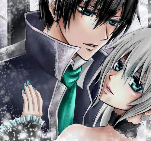 Anime Love Boy Girl Colour Blackhair Greyhair Blu